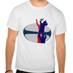 Rugby player lineout throw ball france shirts. illustration of Rugby player catching line-out throw with ball in the background with colors of france. #illustration  #Rugby #rwc #rwc2015 #rugbyworldcup