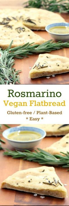 Rosemary, garlic and oregano balance pleasantly in this doughy and delicious, or crispy and crunchy, flatbread. Bake to your desired texture! A fabulous snack or lovely accompaniment to many meals. Vegan Foods, Vegan Dishes, Gluten Free Baking, Vegan Gluten Free, Whole Food Recipes, Cooking Recipes, Bread Recipes, Vegetarian Recipes, Healthy Recipes