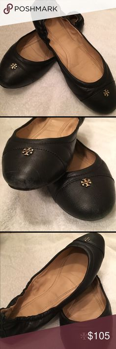 Tory Burch York Ballet Flat Black 7.5 Black leather ballet flat by Tory Burch. Gently used condition. The inside and outside toe area show some marks from normal wear. Please see pics. Tory Burch Shoes Flats & Loafers