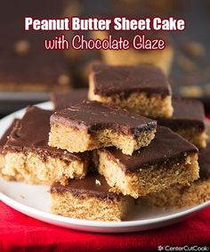 Peanut butter sheet cake with chocolate glaze! #peanutbutter #dessert #chocolate