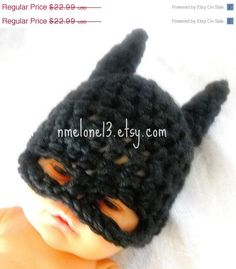 ON SALE 15 off Batman  handmade crochet  Hat 0 to 3 by NattyHatty, $19.54