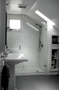 If you are looking for Small Attic Bathroom Design Ideas, You come to the right place. Below are the Small Attic Bathroom Design Ideas. This post about S. Attic Shower, Small Attic Bathroom, Loft Bathroom, Upstairs Bathrooms, Industrial Bathroom, Bathroom Mirrors, Bathroom Shelves, White Bathroom, Chevron Bathroom