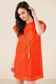 Covella Lace Shift Dress- Red