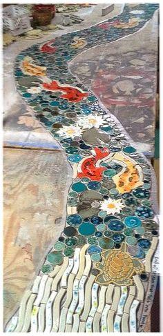 Mosaic / shaped ceramic tile koi stream click now for info. Pebble Mosaic, Stone Mosaic, Mosaic Art, Mosaic Glass, Mosaic Tiles, Mosaic Floors, Mosaic Tile Fireplace, Slate Patio, Patio Steps