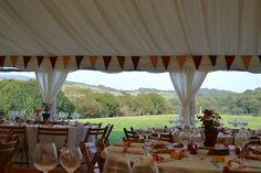 Lots of colour and beautiful views for your wedding breakfast at Wilkswood Wedding Venue