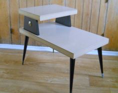 1960's End Table Two Tier • Mid Century Blond Side Table • Vintage Furniture Black and Gold $75.00