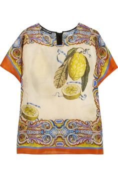 Dolce & Gabbana|Printed silk-organza top|NET-A-PORTER.COM