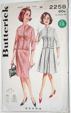 Vintage sewing pattern jacket and pencil or box pleat skirt - 1960s Butterick 2258 - 34 bust