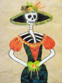 mexikool: Catrina en arte plumario @mexikool