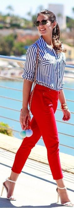 #street #style #spring #2016 #inspiration | Red + White & Blue Stripes | 1silaparamibolso