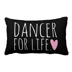 Dancer For Life Black with Heart Pillows