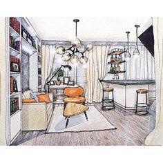 Interior sketch by @darig_designer_architect  #drawuroom #interiordesign #drawing #interiorsketch #illustration #sketch
