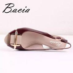 sports shoes 329c8 0db13 96.77  Bacia nueva piel de oveja sandalias vino rojo decorado zapatos de  punta abierta Correa zapatos de cuero genuino tamaño 33 42 hecho a mano  sandalias ...