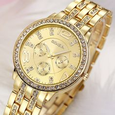 Bling Stainless Steel Simulation Crystal Wristwatches