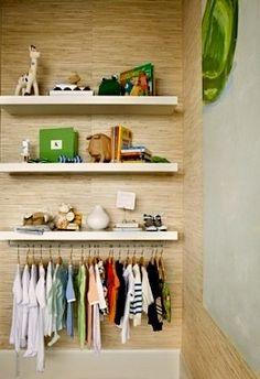 no closet idea for kids room storage