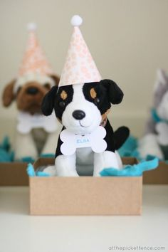 Adopt a Dog party favors: small party puppies in a cardboard box. Sweet and simple.