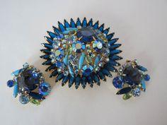 Juliana D&E Book Piece Blue Navette Brooch & Earrings #DEJuliana