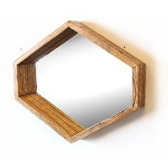 $180 Retro Hexagon Mirror in Natural Aged Fir by SilicateStudio on Etsy