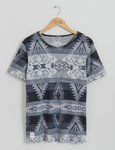 Mens T-Shirts | Greyscale Western Print Tee | Native Youth