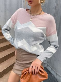 Chevron Colorblock Drop Shoulder Sweater | SHEIN EUR
