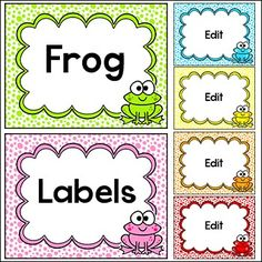 Frog Theme Labels by Pink Cat Studio | Teachers Pay Teachers