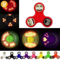 Ouneed® Fidget Spinner Hand Spinner Spielzeug , Fidget Spinner 3 Triangle LED Flash light Smiling face Camouflage Mehrfarbig Finger toy (Rosa) - Fidget spinner (*Partner-Link)
