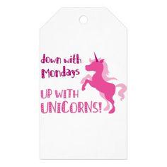 #down with mondays up with unicorns gift tags - #funny #unicorn #unicorns #horse #horses #magical #colourful #fantasy