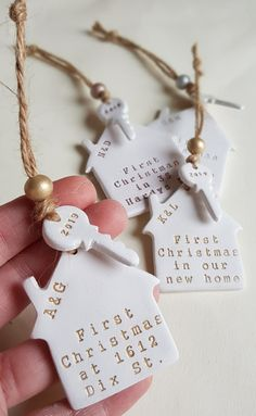 Your place to buy and sell all things handmade Personalised Christmas Decorations, Holiday Decor, Christmas Baubles, Xmas, First Christmas, Wooden Beads, Tree Decorations, Biodegradable Products, Personalized Gifts