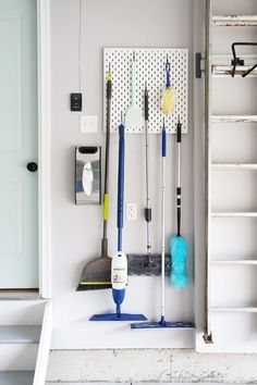Cleanses and garage organization hacks. Looking for ways to clean up and organiz. Cleanses and garage organization hacks. Looking for ways to clean up and organize your garage? Ikea Algot, Ikea Skadis, Diy Garage Storage, Ikea Storage, Storage Hacks, Broom Storage, Kitchen Storage, Home Storage Ideas, Organization Ideas For The Home