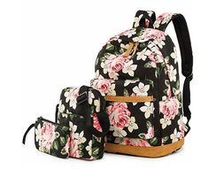 New BLUBOON School Backpack Girls Teens Bookbags Set, 15 Women Laptop Bag + Lunch Tote Bag + Clutch Purse/Pencil Case (Big Floral - Black) online shopping - Clothes for women - Outfits İdeas Backpacks For Teens School, Backpack For Teens, School Bags For Girls, College Backpacks, Pretty Backpacks, Girl Backpacks, Bags For Teens, Kids Bags, Women's Bags