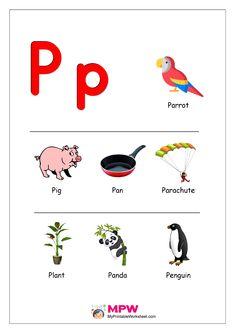 Things that start with P Alphabet Printable Preschool Worksheets, Preschool Learning Activities, Alphabet Worksheets, Alphabet Activities, Kindergarten Worksheets, Printable Alphabet, Toddler Activities, Alphabet Sounds, Alphabet Phonics