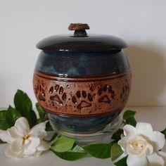 Memorial Urns, Dog Memorial, Dog Prints, Pet Urns, Blue Dog, Handmade Ceramic, Knob, Dark Blue, Ceramics