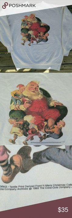Coca-Cola Christmas Sweatshirt  Vintage Coca cola Santa Sweatshirt 🎄🎄 copyrighted 1993 in absolute great condition!!! Size Large Vintage Tops Sweatshirts & Hoodies