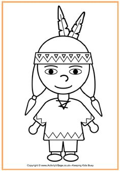 Native American Boy Coloring Page - Thanksgiving Coloring Pages for Kids