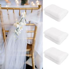 10/25 White Wedding Organza Chair Cover Sashes Bow Banquet Party Birthday Decor   Home & Garden, Wedding Supplies, Venue Decorations   eBay!