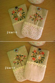 "刺绣""小鸟系列""手机袋~"