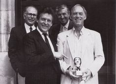 Granada writer Jeremy Paul (with Edward Hardwick, Jeremy Brett and ...I don't know who that it) after he won the Poe Award for writing The Musgrave Ritual.
