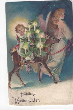 Antique  German Christmas Post Card Froliche Weihnachten Angel Deer & Baby  ## #Christmas