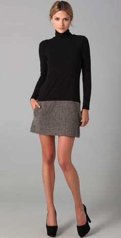 black turtleneck with tweed skirt dress from theory. something meg ryan in 'you've got mail' would pull off.