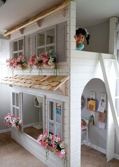 Layla's Dollhouse Loft Bed, Play Area Underneath. Options Include Bunk Bed Version, Storage Trundle, Slide & Stairs w/ Built-in Storage Benutzerdefinierte Puppenhaus Landhaus Hochbett wählen Ihre loft ideen Bunk Beds With Stairs, Kids Bunk Beds, Play Beds, Loft Beds, Stair Slide, Bed Slide, Built In Storage, Storage Area, Baby Storage