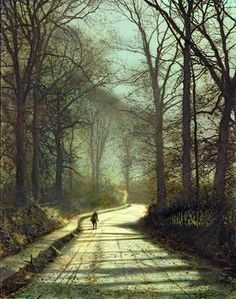 """""""The Path,"""" by John Atkinson Grimshaw (1836 - 1893), a Victorian-era painter, notable for his landscapes."""