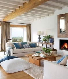 Design Notes-Coastal Blues to Inspire Your Home Design Home Living Room, Living Room Designs, Living Room Decor, Living Spaces, Home Interior, Interior Design, Spanish Design, Home Fashion, Family Room