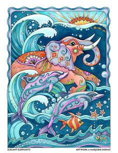 Elephant and Dolphins – Art and coloring ©Marjorie Sarnat