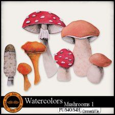 Watercolors Mushrooms 1 Elements #CUdigitals cudigitals.com cu commercial digital scrap #digiscrap scrapbook graphics