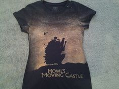 I want this because REASONS!!! Custom Howls Moving Castle inspired shirt! If you want a mens style shirt, mention it in the order notes! Bleached shirts never fade, they always