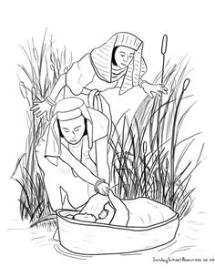 nile river coloring pages | Sunday School Coloring Page : Moses in the Basket