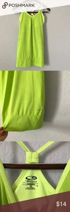 🌱Champion loose workout tank w/ built in bra sz S This neon green tank from Champion is nice and loose with a built in bra. It is sure to brighten up your workout! It is in EUC with no holes, rips, or stains. Bundle with other items from my closet for the best deal! Champion Tops Tank Tops