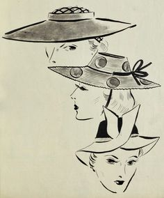 1938 1930s Hats, 30s Style, 30s Fashion, Vintage Art, Hat, 1930s Fashion
