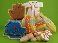 Baseball ballpark cookie collection ~ hat, glove, jersey, hot dogs, bat, baseball and peanuts! Iced Decorated Sugar Cookies