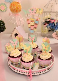 Butterflies Birthday Party cupcakes!  See more party planning ideas at CatchMyParty.com!